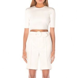 Misha Collection Demi ivory short sleeve crop top